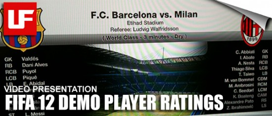 FIFA 12 Demo Player Ratings  FIFA 12 Demo Player Ratings FIFA 12 Demo Player Ratings