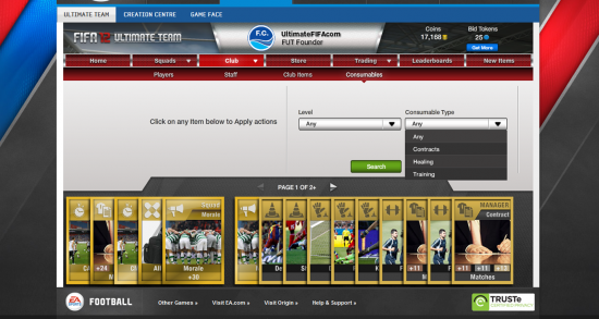 Ultimate Team Web App Screenshot