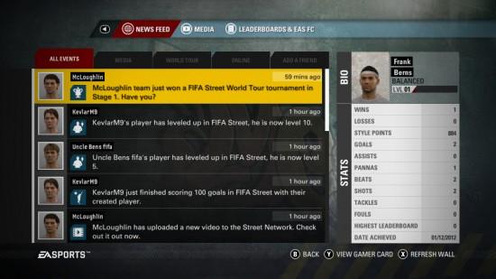FIFA Street 2012 Street Network Newsfeed  FIFA Street: Street Network Details FIFA Street 2012 Street Network Newsfeed