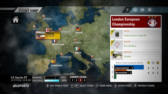 FIFA Street 2012 World Tour Europe Event Map