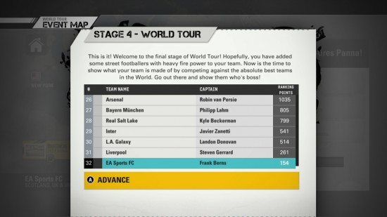 FIFA Street 2012 World Tour Pro Leaderboards