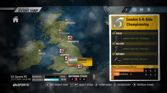FIFA Street 2012 World Tour UK Event Map