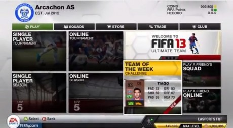 FIFA 13 Ultimate Team Menus