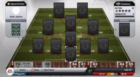 FIFA 13 Ultimate Team Squad Screenshot