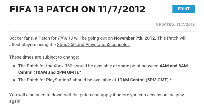 FIFA 13 Patch Xbox PS3 Release Dates