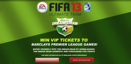 FIFA 13 Ultimate Team Dream Draw  Win Premier League Tickets With FIFA 13 Ultimate Team Dream Draw FIFA 13 Xbox 360 Dream Draw