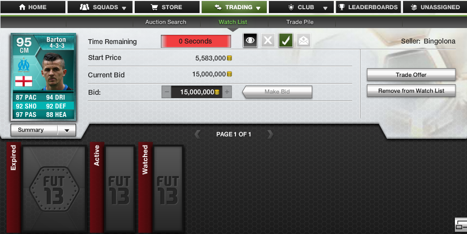 Joey Barton Ultimate Team Card Sold For 15 Million Coins
