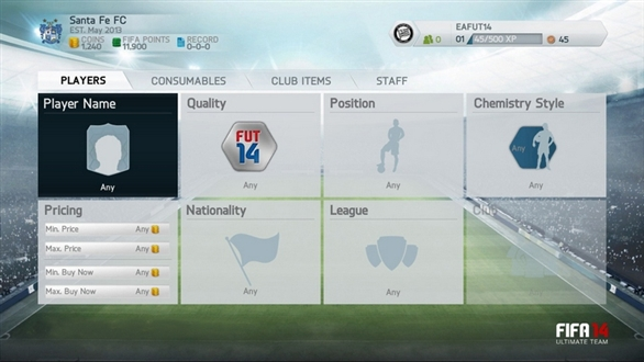 New FIFA 14 Menus Screenshot