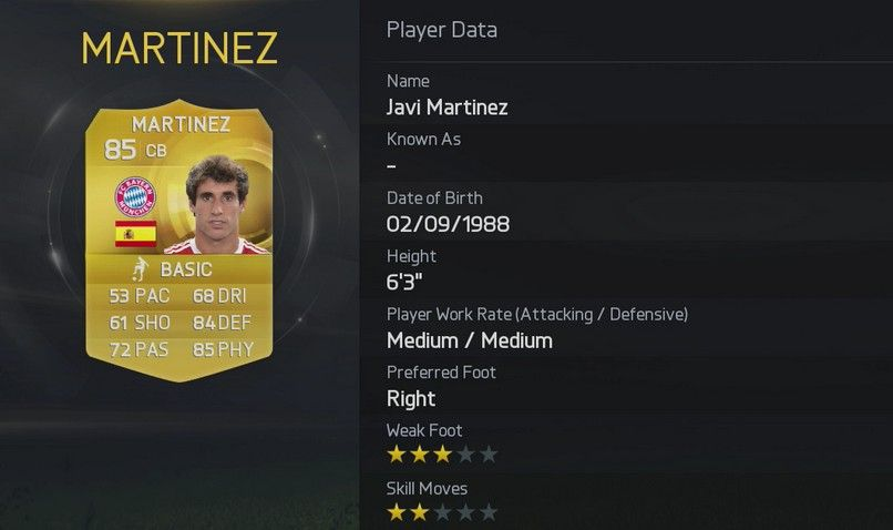 FIFA 15 Javi Martinez  FIFA 15 Player Ratings Rolled Out In True EA Style FIFA 15 Javi Martinez